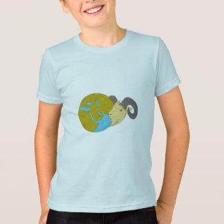 Ram Head Middle East Globe Drawing T-Shirt