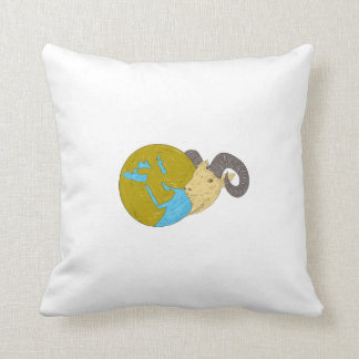 Ram Head Middle East Globe Drawing Throw Pillow