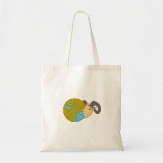 Ram Head Middle East Globe Drawing Tote Bag