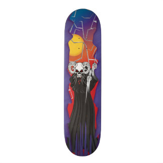 Ram Horned Skull Skateboard