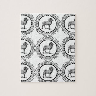 ram in a round jigsaw puzzle