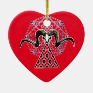 Ram skull sacred geometry ceramic ornament
