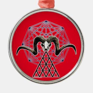 Ram skull sacred geometry metal ornament