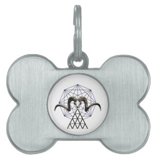 Ram skull sacred geometry pet tag