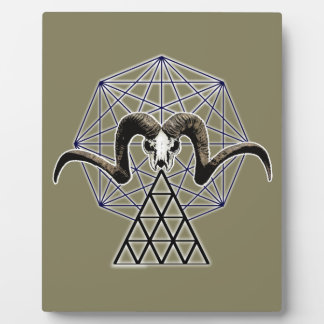 Ram skull sacred geometry plaque