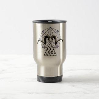 Ram skull sacred geometry travel mug