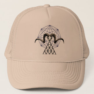 Ram skull sacred geometry trucker hat