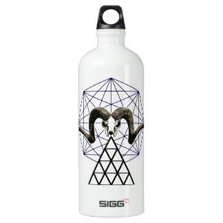 Ram skull sacred geometry water bottle