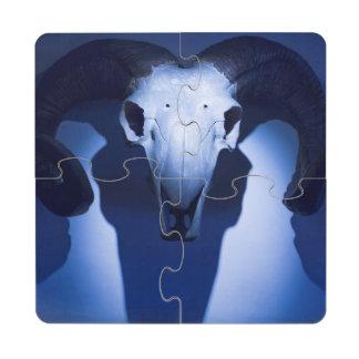 Ram Skull, Santa Fe, New Mexico. USA Puzzle Coaster