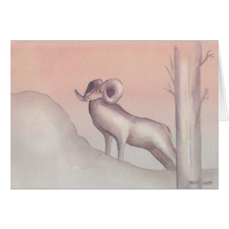 """Ram"" Watercolor Sketch Greeting Card"