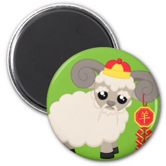 Ram With Firecrackers 2 Inch Round Magnet