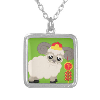 Ram With Firecrackers Silver Plated Necklace