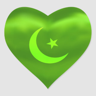 Ramadan Moon Green Silky Satin Heart Sticker