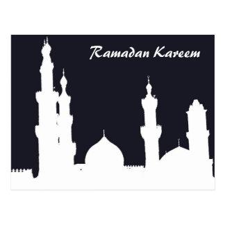 Ramadan Mosque Black Postcard