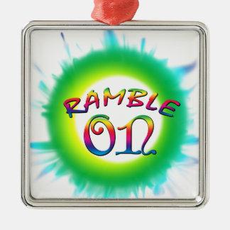 Ramble On Silver-Colored Square Ornament