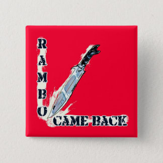 rambo came back knife cartoon style illustration 2 inch square button