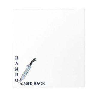 rambo came back knife cartoon style illustration notepads