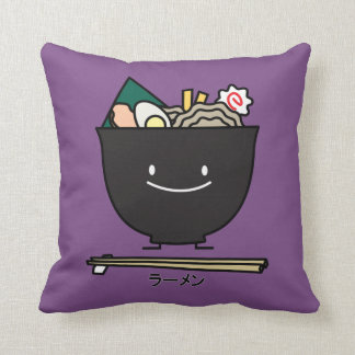 Ramen Bowl chopstick pork seaweed Japanese noodles Throw Pillow