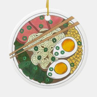 Ramen Noodles Bowl Japanese Food Restaurant Foodie Ceramic Ornament