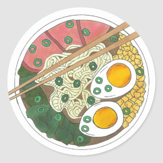 Ramen Noodles Bowl Japanese Food Restaurant Foodie Classic Round Sticker
