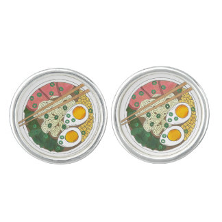 Ramen Noodles Bowl Japanese Food Restaurant Foodie Cuff Links