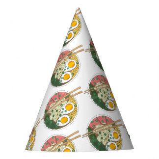 Ramen Noodles Bowl Japanese Food Restaurant Foodie Party Hat