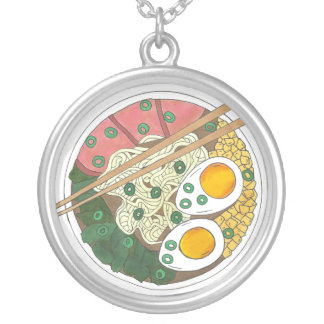 Ramen Noodles Bowl Japanese Food Restaurant Foodie Silver Plated Necklace