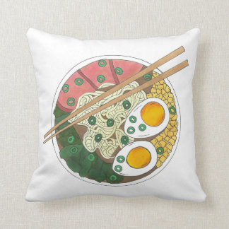 Ramen Noodles Bowl Japanese Food Restaurant Foodie Throw Pillow