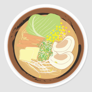 Ramen Sticker, Sheet of 20 (Sapporo Miso) Round Sticker