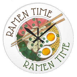 Ramen Time Japanese Food Noodle Soup Restaurant Large Clock