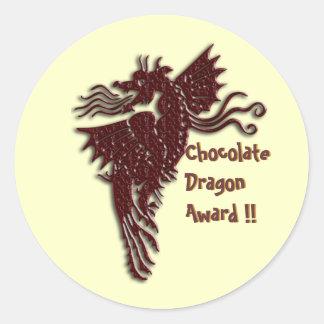Rampant Chocolate Dragon envelope sealers Classic Round Sticker