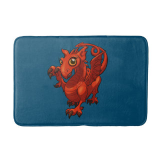 Rampant Little Welsh Baby Red Dragon Cartoon Bath Mat