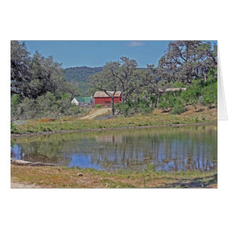 Ranch Home and Barn in Texas HIll Country Card