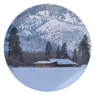 Ranch in western Canada, winter Plate