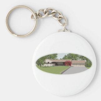 Ranch Style House: Basic Round Button Keychain