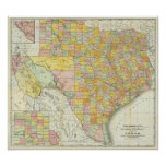 Rand McNally Railroad And County Map Of Texas Poster