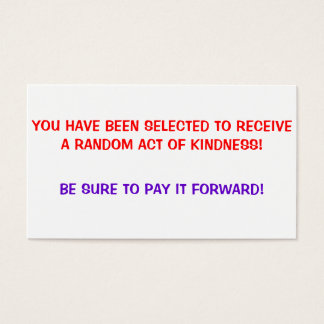 Random Act of Kindness, Pay it forward Cards
