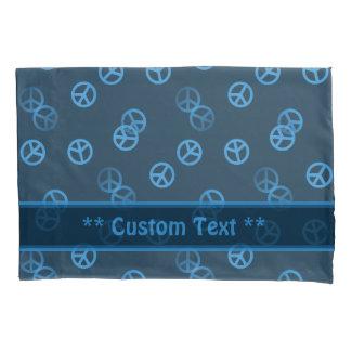 Random Blue Peace Sign Pattern w/ Custom Text Pillowcase