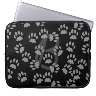 Random Cat Paw Print Pattern Hidden Monogram Computer Sleeves