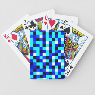 Random Checkered Pixel Art - Blue & White Bicycle Playing Cards