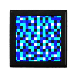 Random Checkered Pixel Art - Blue & White Gift Box
