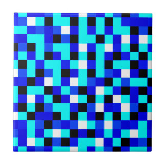 Random Checkered Pixel Art - Blue & White Tile
