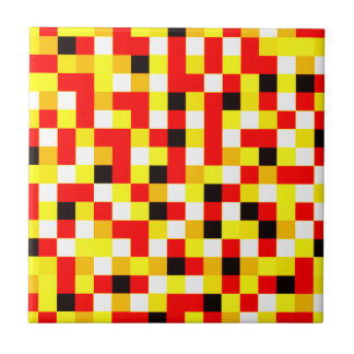 Random Checkered Pixel Art - Red & Yellow Ceramic Tile