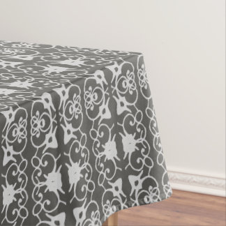 Random Damask Design Grey Tone on Tone Tablecloth