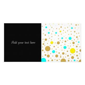 Random Dots Yellow Turqoise White Gold Photo Card