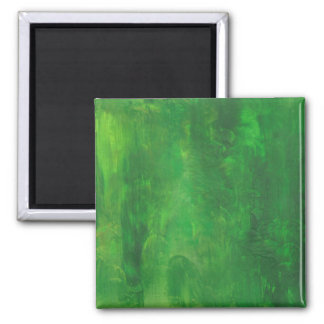Random Forms Green Abstract Painting 2 Inch Square Magnet