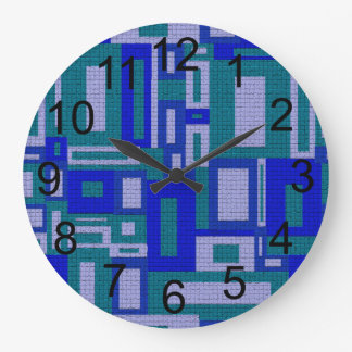 Random Geometric Retro Aqua Wall Clock