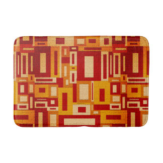 Random Geometric Retro Modern Art Bath Mat