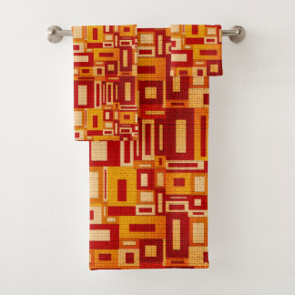 Random Geometric Retro Modern Art BathTowel Set