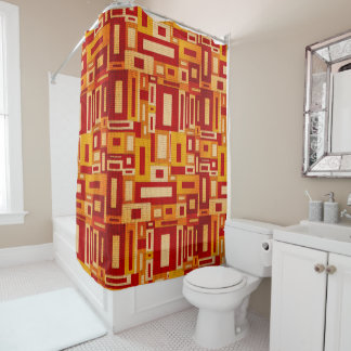 Random Geometric Retro Modern Art Shower Curtain